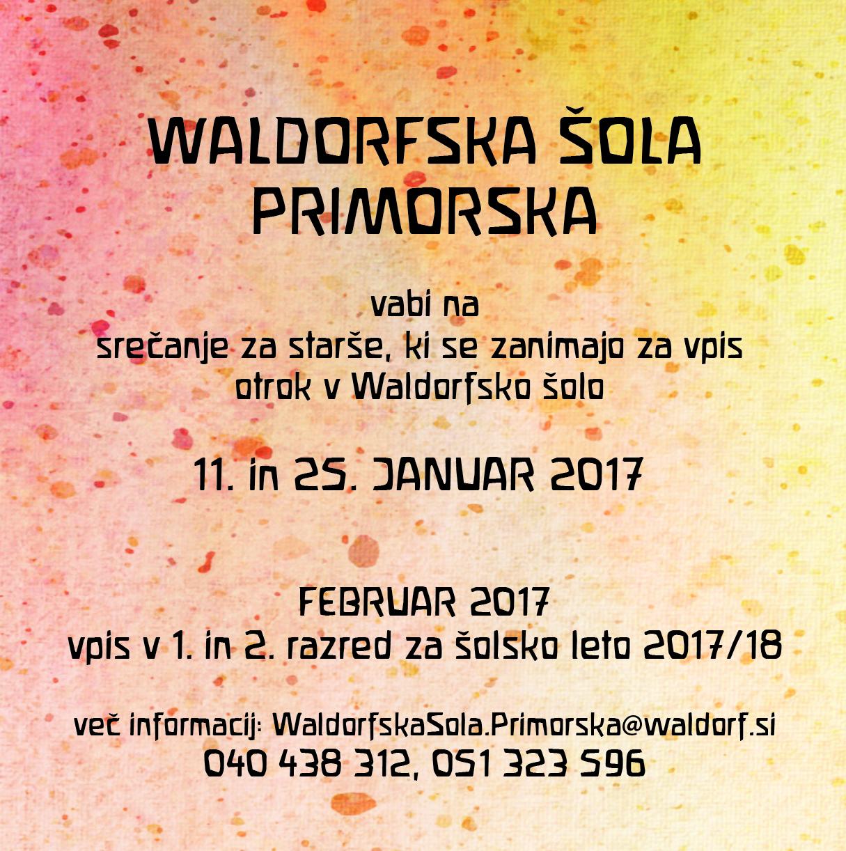 Srečanje za starše v Waldorfski šoli na Primorskem